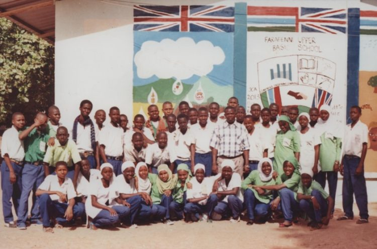 Adukunle with his students in Gambia.