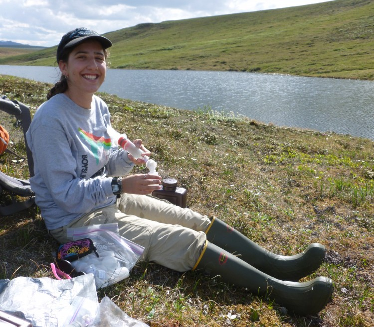 Lauren filters water for nutrient analyses in Toolik, Alaska.