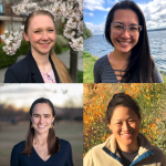 Headshot photos of Sarah Philo, Minh Nguyen, Kathleen Abadie, and Christina Park