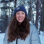 Fulbright fellow Hannah VanBenschoten standing outside in the snow in Sweden