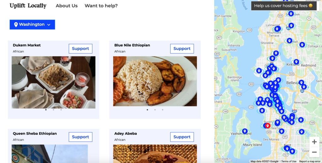 Screenshot of website Uplift Locally with map pinpointing restaurants and images of food with restaurant names.